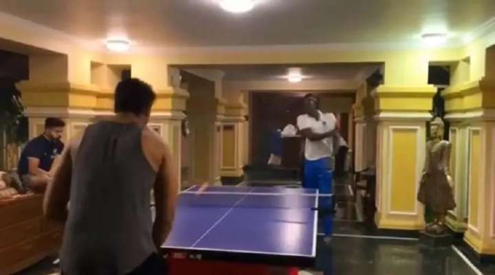 Image result for shivam dube jason holder table tennis
