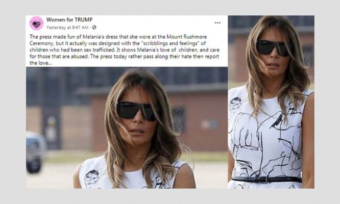Did Melania Trump S Dress Feature Drawings By Child Sex Abuse Victims Boom Factcheck Dailyhunt